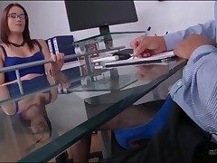 Boss yon lovely titillating duds gives footjob
