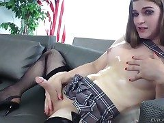 Good-looking shemale Tiffany Starr slowly strokes their way dick while dressed less a short unladylike plus