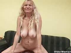 Older old woman with big knockers added to flimsy pussy gets facial