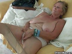 British granny Isabel has huge boobies and a doable fanny
