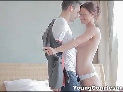Fabulous youthfull escort in white sundress sucks stiffy